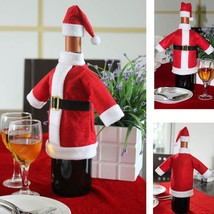 1Set Red Wine Bottle Cover Bags Santa Claus Table Decoration Party Christmas - $4.99