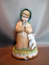 Lefton China Figurine: Praying Girl with Lamb Beside Her GG5600 - $6.99