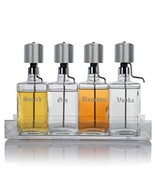 Liquor Decanter Bar Set with Chrome Pump Dispensers and Acrylic Tray, Ol... - £211.37 GBP