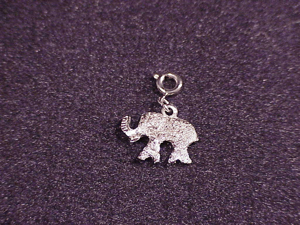 Vintage Silver Elephant Charm with a small chain and spring ring clasp
