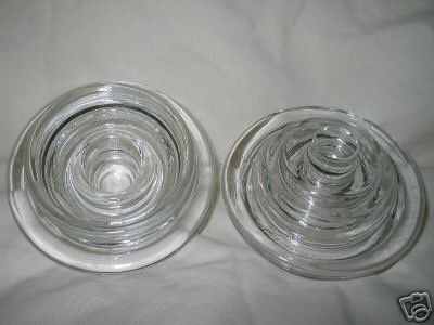 2 Fostoria Glass crystal VIRGINIA candlestick ADAPTORS for hurricane globes