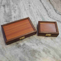 Antique Vintage Style Wooden Box Teak Wood For General Use Set Of 2 Home... - $15.04