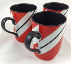 Fitz and Floyd Monaco Coffee Cup Mug Lot(3) 9oz Red Black White Porcelai... - $29.02