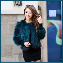 Teal Natural Hair Racoon Fur Three Quarter Sleeved Short Coat Jacket W/ Pockets