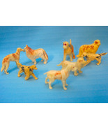 Dogs Vintage Toy Rubber Figurines Lot of 8 Breeds Collie Basset Hound Ai... - $22.95