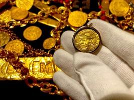 SPAIN 1 ESCUDO 1516-56 CRYSTAL GOLD NECKLACE SHIPWRECK TREASURE JEWELRY ... - $1,995.00