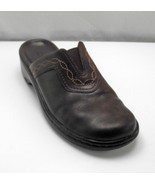 Clarks Brown Leather Mules with Elastic & Decorative Stitching-Women's S... - $18.05