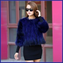 Sapphire Blue Natural Racoon Fur Three Quarter Sleeved Short Coat Jacket Pockets