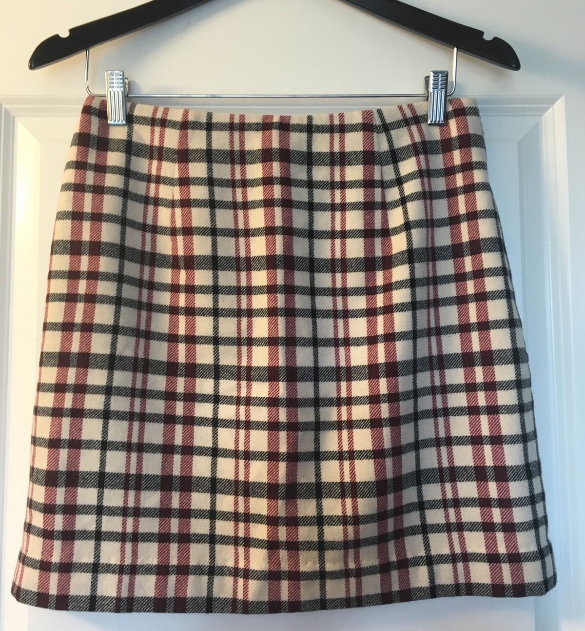Primary image for ANN TAYLOR PetItes Burgundy Black Cream Plaid Wool Skirt~Size 8P