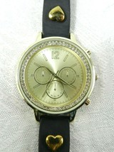 Accutime Watch Japan Gold Face Black Neoprene Band CZ Accents Heart Chronograph - $20.78