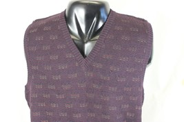VTG 90s NORDSTROM V-Neck SWEATER VEST XL Purple Burgundy 100% Merino Woo... - $19.06