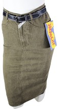 VTG 90s JORDACHE JEANS Modest PENCIL SKIRT w/ Belt Sz 7/8 High Waist Oli... - $19.86