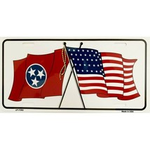 tennessee american flag crossed license plate made in usa - $28.49