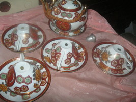 12 pc VINTAGE JAPAN TEA SET for 4` BURNT ORANGE in SHAPLY DESIGN`S & FLORAL - $24.99