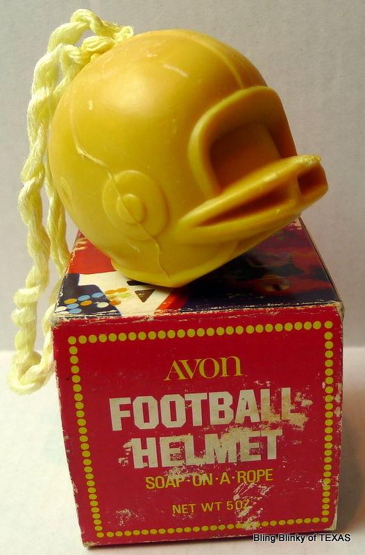 Avon Football Helmet Soap on a Rope Vintage 1973