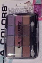 L.A. Colors Powder Eyeshadow 12 Shades Glamorous & Applicator Brush - $10.84