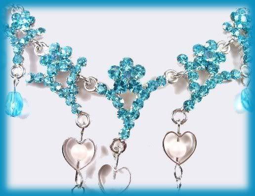 Hearts Necklace & Earring Set Aqua Crystals & Beads
