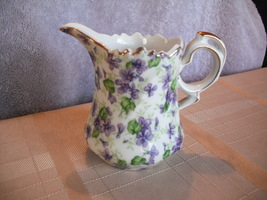 Lefton Hand Painted Violet Chintz Creamer - $19.99