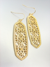 GORGEOUS Urban Anthropologie Gold Lattice Metalwork Long Oval Dangle Ear... - $14.99