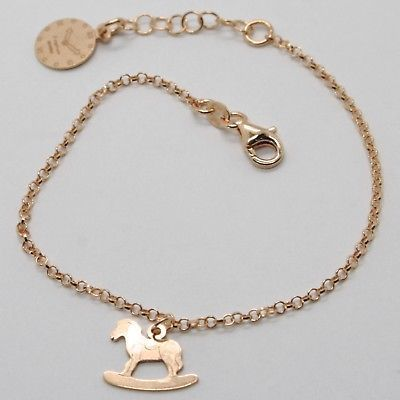 "925 STERLING ROSE SILVER ""LE FAVOLE"" BRACELET ROCKING HORSE PENDANT, TALE, WATCH"