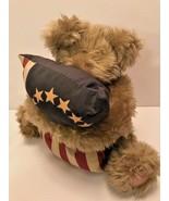 Tan teddy bear holding 13 star American Flag pillow 1998 Crazy Mountain ... - $12.16
