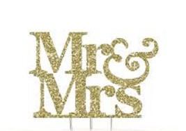 Gold sparkling plastic acrylic Silhouette  Mr & Mrs monogram - $12.42