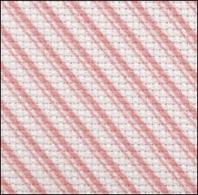 Pink Peppermint Stripes 14ct Aida 19x35 HD cross stitch fabric Fabric Flair - $25.65
