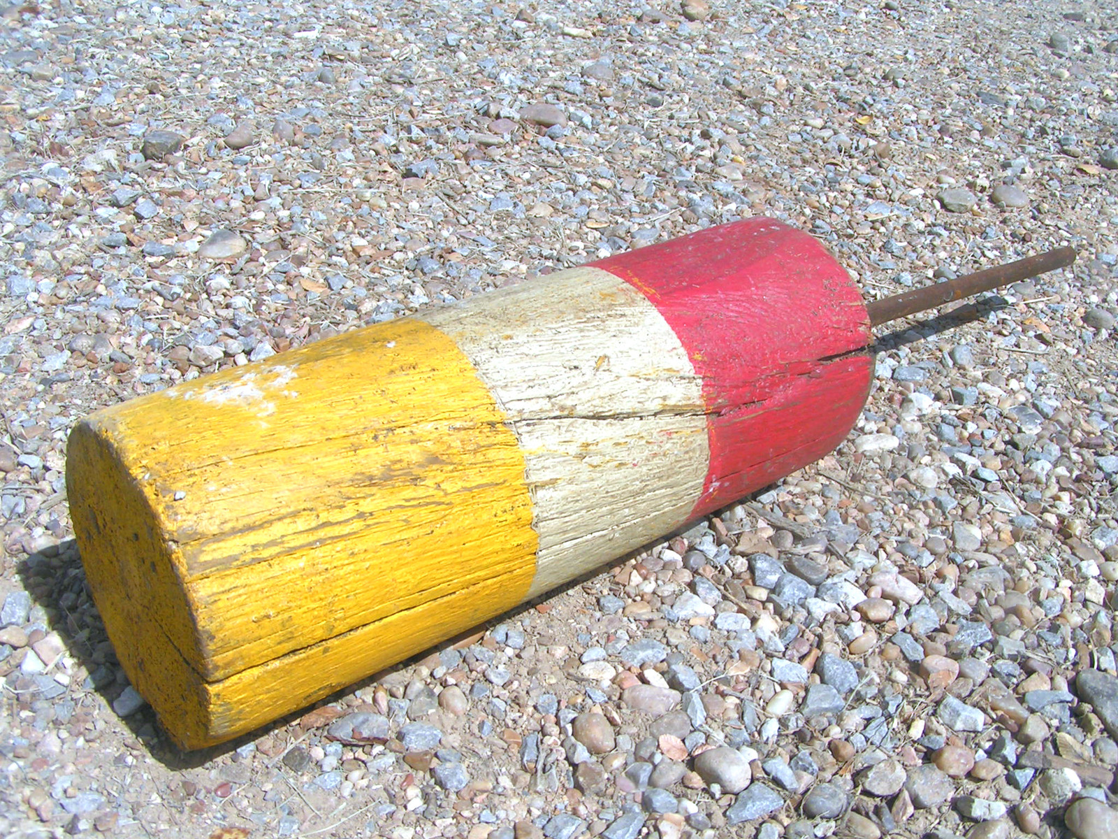 Old Wooden Lobster Fisherman Float Wood Fishing Buoy with original dowel rod 2