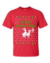 Merry Christmas Reindeer Humping Ugly Sweater  Men's Tee Shirt  2 COLOR ... - $9.85+
