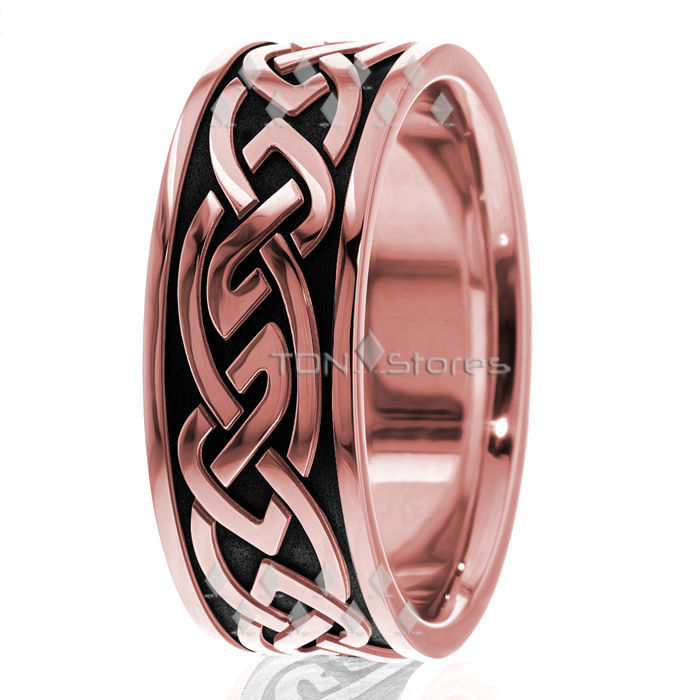 18K MENS SOLID YELLOW GOLD CELTIC KNOT BLACK ENAMEL WEDDING BANDS RINGS 9MM WIDE