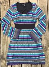 INC Textured Knit Sweater Dress Purple Blue XL Long Sleeve Chevron Cotto... - $38.60