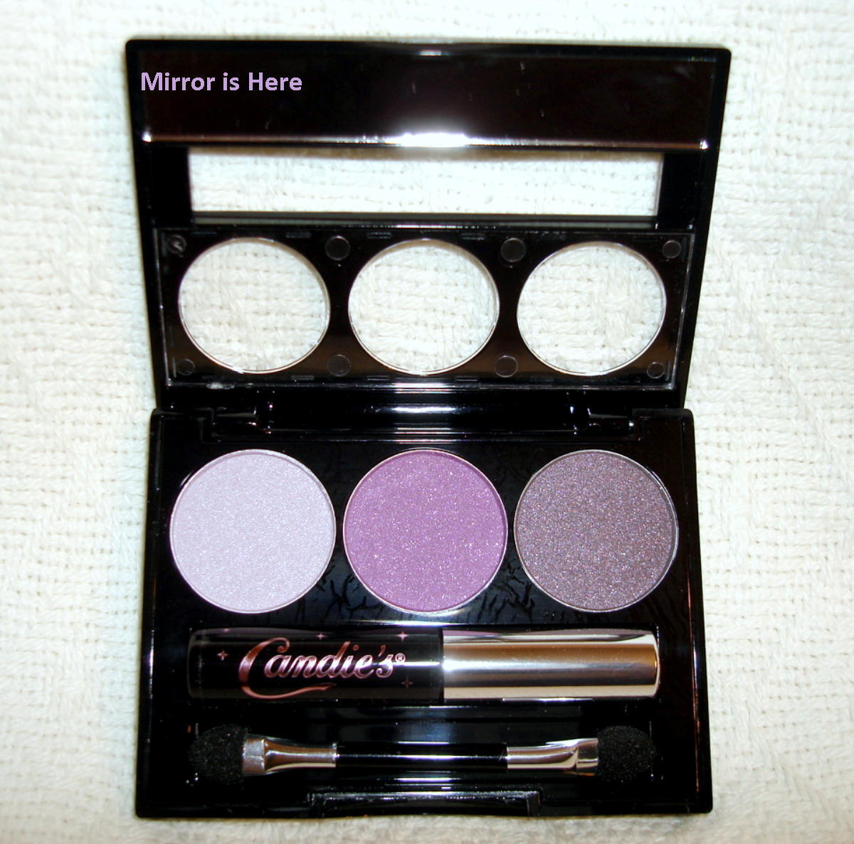 Candies 3 Shade Eyeshadow Palette with Mascara Purple Mirrored Compact Cosmetic