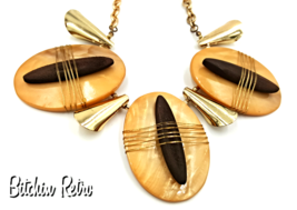 You and I Vintage Necklace with Primitive Tribal Theme and Wood Accents - $20.00