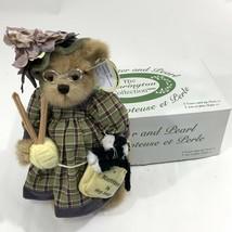 Bearington Collection Mrs Knitter Pearl Knitting Teddy Bear Cat Stuffed ... - $21.77