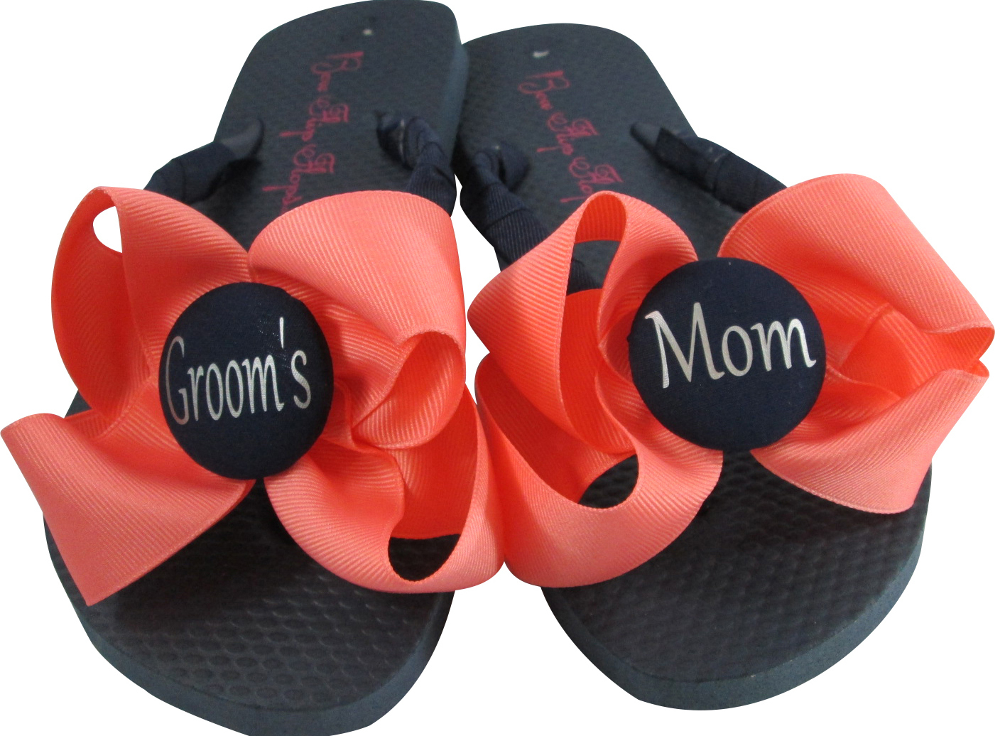 127323b89 Coral Bow on Navy Flip Flops- Wedding  and 50 similar items