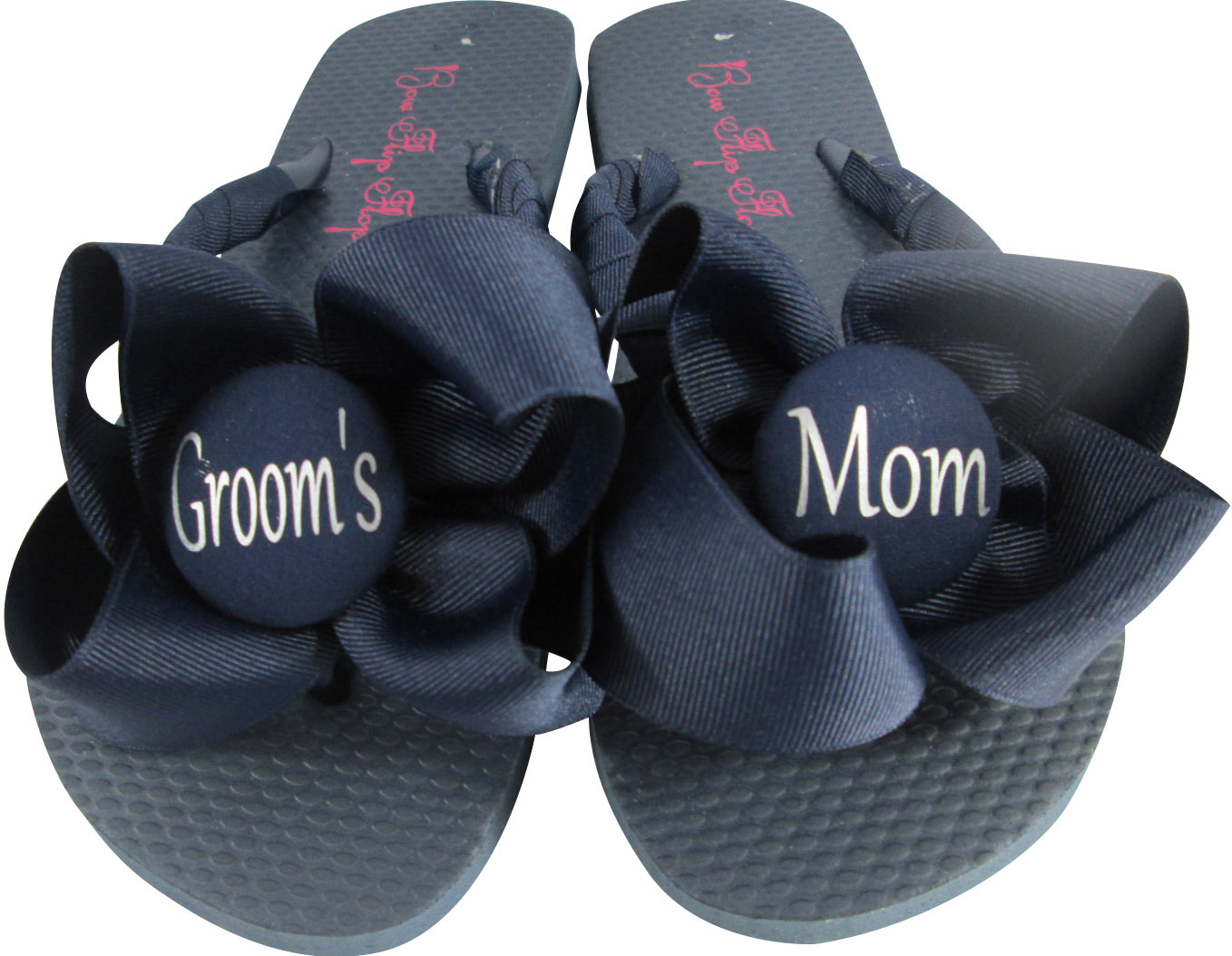 9a7c5a388 Coral Bow on Navy Flip Flops- Wedding  Groom s Mom or Bride s Mom