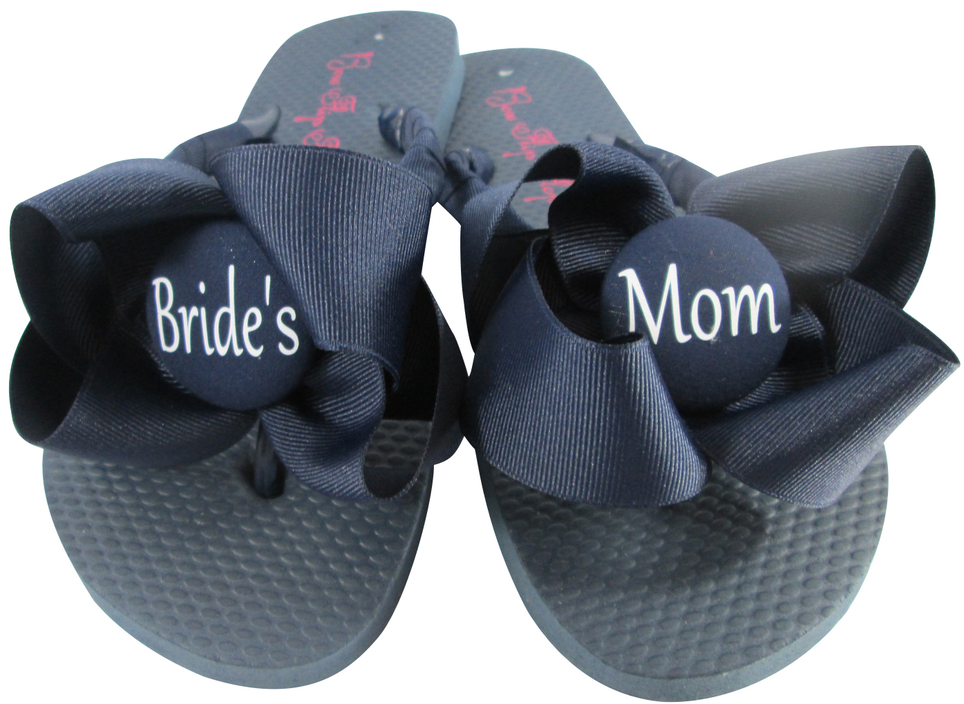 b4407f69cc5f6e Coral Bow on Navy Flip Flops- Wedding  Groom s Mom or Bride s Mom
