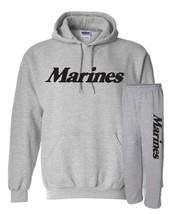 Marines SWEATSHIRT HOODIE & SWEATPANTS COMBO SET Military War Sport Gray482 - $24.95+