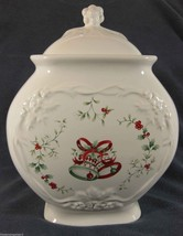 Pfaltzgraff Winterberry Sculpted Cookie Jar & Lid Christmas Bells Holly ... - $42.95