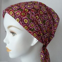 Cranberry Floral Chemo Cancer Hat Alopecia Hair loss Scarves Turban Head Wrap - $16.95