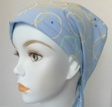 Cancer Chemo 100% Cotton Hair loss Scarf Turban Head Cover Hat Soft Blue Dots - $16.95