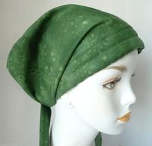 Chemo Cancer Hat Alopecia Hair Loss Head Covering Scarf Turban Green Snowflakes - $16.95