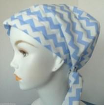 Chemo Cancer Hat Hair Loss Scarves Turban Head Wrap Alopecia Light Blue Chevron - $16.95