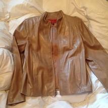 Cole Haan Tan Leather Zip Front Jacket Size Medium M - $123.75
