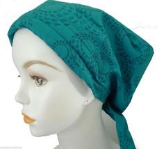 Elegant Teal Cancer Hat Alopecia Cotton Hair loss Scarf Turban Head Wrap Cover - $16.95