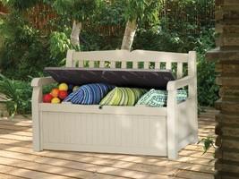 Eden 70 Gal All Weather Garden Outdoor Patio Storage Bench Deck Box ,Bei... - £118.41 GBP