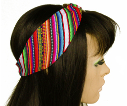 White Peruvian Woven Ethnic Headband, Head Wrap, boho headband, wide hea... - $18.64