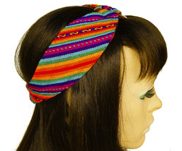 Rainbow Peruvian Woven Ethnic Headband, Head Wrap, boho headband, wide h... - $18.64