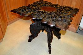 Victorian Ornate carved wood Parlor TABLE High Relief signed Jubbar Khan... - $544.39