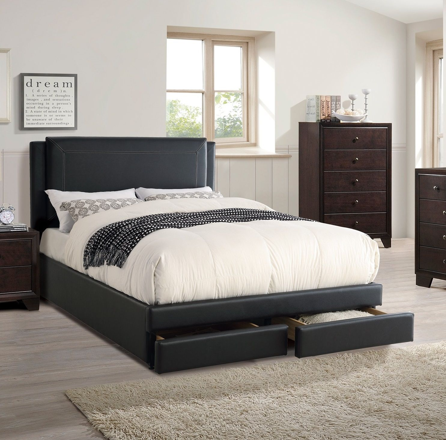 Cal king storage bed bedroom set black faux leather - California king storage bedroom sets ...
